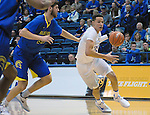 January 14, 2017:  Air Force forward, Hayden Graham #35, drives the lane during the NCAA basketball game between the San Jose State Spartans and the Air Force Academy Falcons, Clune Arena, U.S. Air Force Academy, Colorado Springs, Colorado.  San Jose State defeats Air Force 89-85.