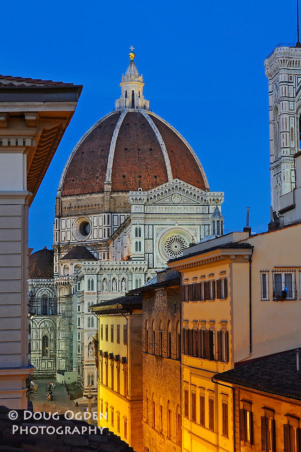 Duomo and Facade at night from surrounding rooftop, Florence, Italy