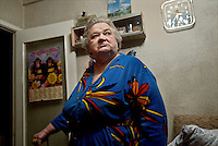 Rasma Stodukh, originally from Riga in Latvia, in her apartment. She spent 13 years as a political prisoner in the town's former Gulag and stayed on after her release in 1960. Rasma's children left years ago but she is cared for by neighbours and says she is resigned to living out her days in the city. Vorkuta is a coal mining and former Gulag town established beyond the Arctic Circle, where temperatures in winter drop to -50C. Russia's far north is slowly declining. Every year thousands of people from its towns and cities flee south. The system of subsidies that propped up Siberia and the Arctic in Soviet times has crumbled. Now there is no advantage to living in the far north, salaries are no higher than in central Russia and prices for goods are higher. /Felix Features