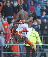Blackpool's Armand Gnanduillet celebrates scoring his sides second goal with Blackpool's Dolly Menga<br /> <br /> Photographer Mick Walker/CameraSport<br /> <br /> The EFL Sky Bet League One - Blackpool v Fleetwood Town - Saturday 14th April 2018 - Bloomfield Road - Blackpool<br /> <br /> World Copyright &copy; 2018 CameraSport. All rights reserved. 43 Linden Ave. Countesthorpe. Leicester. England. LE8 5PG - Tel: +44 (0) 116 277 4147 - admin@camerasport.com - www.camerasport.com