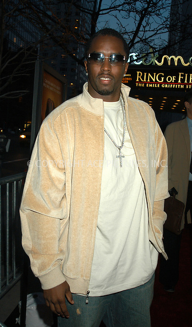 WWW.ACEPIXS.COM . . . . . ....NEW YORK, APRIL 13, 2005....Sean 'P. Diddy' Combs at the 'Ring of Fire the Emile Griffith Story' premiere held at the Beekman Theater.....Please byline: KRISTIN CALLAHAN - ACE PICTURES.. . . . . . ..Ace Pictures, Inc:  ..Craig Ashby (212) 243-8787..e-mail: picturedesk@acepixs.com..web: http://www.acepixs.com