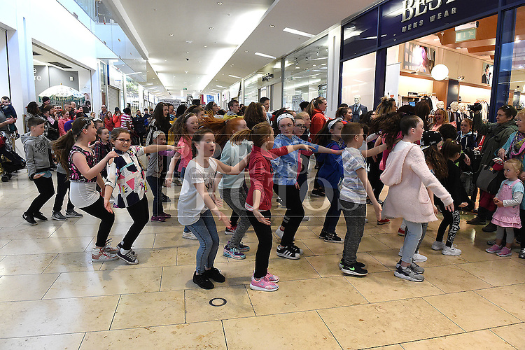 Fit Kids Fit Teens perform a Flashdance in Scotch Hall shopping centre. Photo:Colin Bell/pressphotos.ie