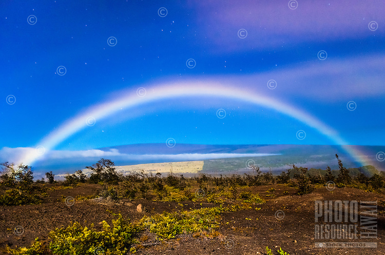 A rare moonbow, Hawai'i Volcanoes National Park, Big Island.