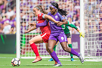 Orlando, FL - Saturday April 22, 2017: Shelina Zadorsky, Chioma Ubogagu during a regular season National Women's Soccer League (NWSL) match between the Orlando Pride and the Washington Spirit at Orlando City Stadium.