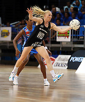 22.01.2015 Silver Ferns Laura Langman in action during the netball test match between the Silver Ferns and Fiji at the Vodafone Arena in Suva Fiji. Mandatory Photo Credit ©Michael Bradley.