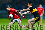 Ronan Buckley, East Kerry in action against Johnny Buckley, Dr Crokes  during the Kerry County Senior Club Football Championship Final match between East Kerry and Dr. Crokes at Austin Stack Park in Tralee, Kerry.
