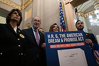 Democratic lawmakers march to United States Senate Majority Leader Mitch McConnell's (Republican of Kentucky) office following a press conference on the Deferred Action for Childhood Arrivals program on Capitol Hill in Washington D.C., U.S. on Tuesday, November 12, 2019.  The Supreme Court is currently hearing a case that will determine the legality and future of the DACA program.  <br /> <br /> Credit: Stefani Reynolds / CNP /MediaPunch