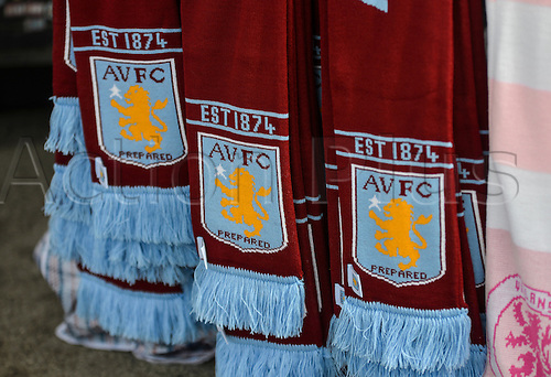 09.04.2016. Villa Park, Birmingham, England. Barclays Premier League. Aston Villa versus Bournemouth. Aston Villa Scarves on sale outside the ground.