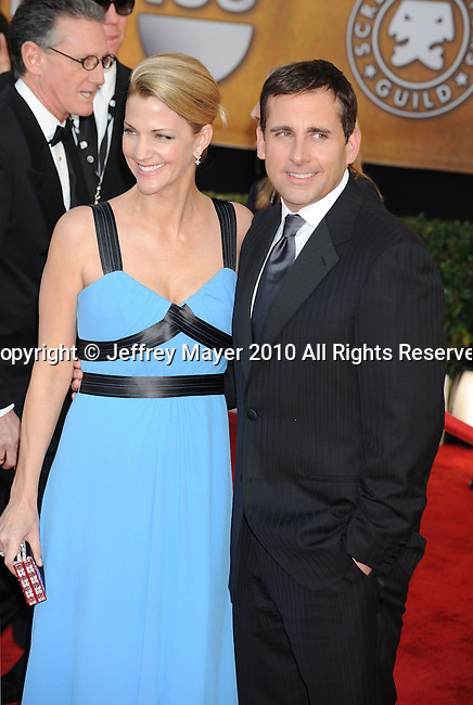 LOS ANGELES, CA. - January 23: Steve Carell and Nancy Carell arrive at the 16th Annual Screen Actors Guild Awards held at The Shrine Auditorium on January 23, 2010 in Los Angeles, California.
