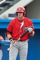 Williamsport Crosscutters catcher Kevin Quaranto #47 during a NY-Penn League game against the Batavia Muckdogs at Dwyer Stadium on August 26, 2012 in Batavia, New York.  Batavia defeated Williamsport 7-1.  (Mike Janes/Four Seam Images)
