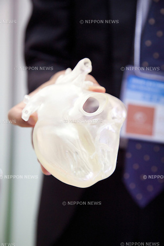 October 17, 2012, Tokyo, Japan - A plastic human heart at Japan Robot Week. The Japan Robot Week 2012 shows the New Energy and Industrial Robot Innovation Technology products in Japan, the exhibition opens from October 17 to 19 at Tokyo Big Sight. (Photo by Rodrigo Reyes Marin/AFLO)..