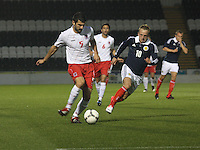 Johnny Russell trying to intercept the Dzenid Ramdedovic back pass in the Scotland v Luxembourg UEFA Under 21 international qualifying match at St Mirren Park, Paisley on 6.9.12.