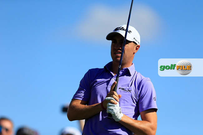 Justin Thomas (USA) on the 3rd tee during the 2nd round of the Waste Management Phoenix Open, TPC Scottsdale, Scottsdale, Arisona, USA. 01/02/2019.<br /> Picture Fran Caffrey / Golffile.ie<br /> <br /> All photo usage must carry mandatory copyright credit (&copy; Golffile | Fran Caffrey)