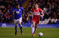Lukas Jutkiewicz of Birmingham battles with Mo Besi of Middlesbrough during the Sky Bet Championship match between Birmingham City and Middlesbrough at St Andrews, Birmingham, England on 6 March 2018. Photo by Bradley Collyer / PRiME Media Images.