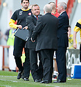 ::  HAMILTON MANAGER BILLY REID LOOKS LIKE HE ACCEPTED THAT HIS TEAM ARE GOING TO BE RELEGATED AS HE SHAKES HANDS WITH ABERDEEN MANAGER CRAIG BROWN AT THE END OF THE GAME ::.25/04/2011  sct_jsp023_hamilton_v_aberdeen  .Copyright  Pic : James Stewart.James Stewart Photography 19 Carronlea Drive, Falkirk. FK2 8DN      Vat Reg No. 607 6932 25.Telephone      : +44 (0)1324 570291 .Mobile              : +44 (0)7721 416997.E-mail  :  jim@jspa.co.uk.If you require further information then contact Jim Stewart on any of the numbers above........