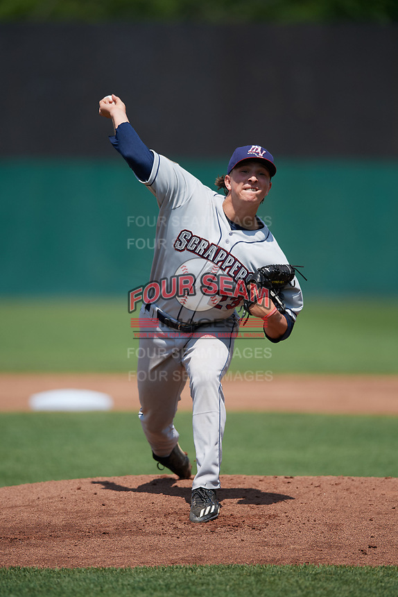Mahoning Valley Scrappers starting pitcher James Karinchak (23) delivers a warmup pitch during the second game of a doubleheader against the Auburn Doubledays on July 2, 2017 at Falcon Park in Auburn, New York.  Mahoning Valley defeated Auburn 3-2.  (Mike Janes/Four Seam Images)