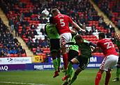 24th March 2018, The Valley, London, England;  English Football League One, Charlton Athletic versus Plymouth Argyle; Patrick Bauer of Charlton Athletic beats Yann Songo'o of Plymouth Argyle to head the ball for an attempt on goal from a cross