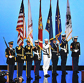 St. Paul, MN - September 4, 2008 -- A Military Color Guard opens the festivities on day 4 of the 2008 Republican National Convention at the Xcel Energy Center in St. Paul, Minnesota on Thursday, September 4, 2008..Credit: Ron Sachs / CNP.(RESTRICTION: NO New York or New Jersey Newspapers or newspapers within a 75 mile radius of New York City)