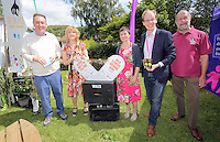 Pictured L-R: MP Nick Smith, Maria Golightly, Veronica Bramovic of Gwent Wildlife Trust, Phillip Turvil and Richard Waller of Gwent Wildlife Trust Saturday 13 August 2016<br />Re: Grow Wild event at  Furnace to Flowers site in Ebbw Vale, Wales, UK