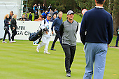 Liam Botham says hello to Ric Lewis during the ProAm ahead of the 2016 BMW PGA Championships played over the West Course Wentworth from 26th to 29th May 2016. Picture Stuart Adams, www.golftourimages.com: 25/05/2016