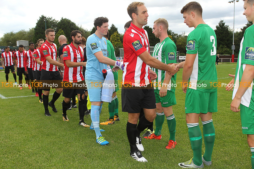 Handshakes are exchanged on the opening day of the season during AFC Hornchurch vs Soham Town Rangers, Bostik League Division 1 North Football at Hornchurch Stadium on 12th August 2017