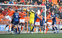 Walsall's Liam Roberts punches clear despite the attentions of Blackpool's Donervon Daniels<br /> <br /> Photographer Kevin Barnes/CameraSport<br /> <br /> The EFL Sky Bet League One - Blackpool v Walsall - Saturday 9th February 2019 - Bloomfield Road - Blackpool<br /> <br /> World Copyright © 2019 CameraSport. All rights reserved. 43 Linden Ave. Countesthorpe. Leicester. England. LE8 5PG - Tel: +44 (0) 116 277 4147 - admin@camerasport.com - www.camerasport.com