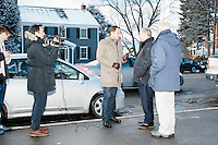 Antena 3 TV Spain reporter Jose Angel Abad interviews former Virginia governor and Republican presidential candidate Jim Gilmore outside Manchester's Ward 1 polling location at Webster Elementary School in Manchester, New Hampshire, on the day of primary voting, Feb. 9, 2016. Gilmore finished in last place among major Republican candidates still in the race with a total of 150 votes.