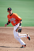Baltimore Orioles third baseman Chris Clare (9) during an Instructional League game against the Tampa Bay Rays on September 19, 2016 at Ed Smith Stadium in Sarasota, Florida.  (Mike Janes/Four Seam Images)