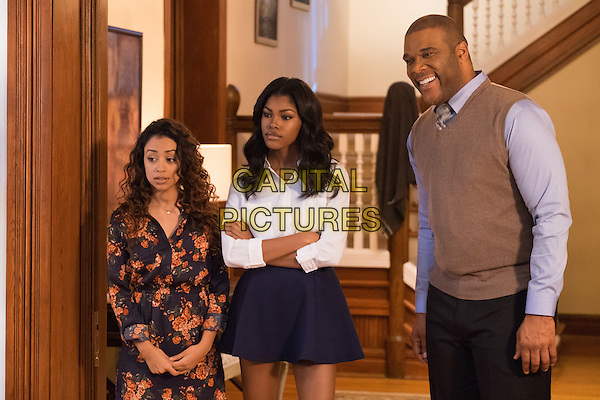 Boo! A Madea Halloween (2016) <br /> Aday (Liza Koshy, left), Tiffany (Diamond White, center) and Brian (Tyler Perry, right) <br /> *Filmstill - Editorial Use Only*<br /> CAP/KFS<br /> Image supplied by Capital Pictures