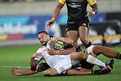 9th June 2017, Westpac Stadium, Wellington, New Zealand; Super Rugby; Hurricanes versus Chiefs;  Chiefs' Aaron Cruden goes for a try
