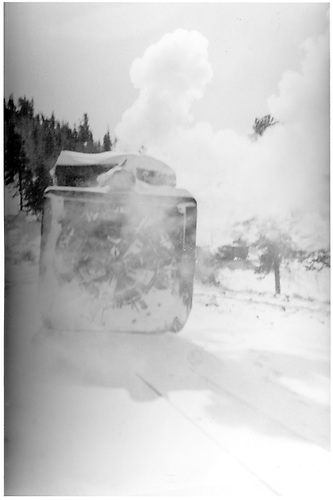 Head-on shot of Rotary snowplow in action.<br /> D&amp;RGW