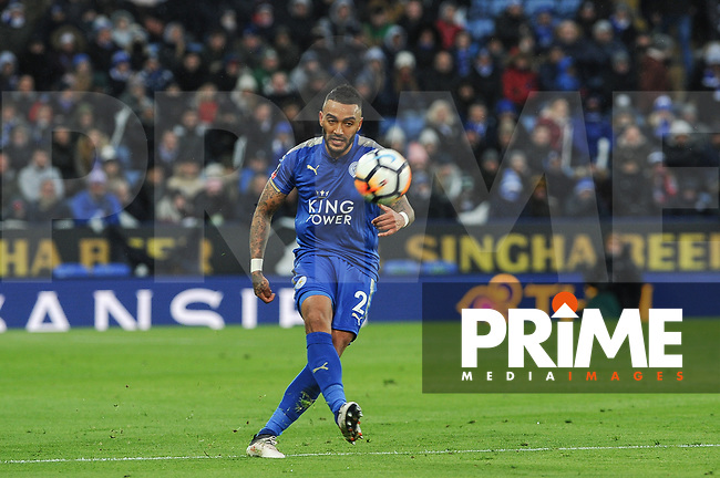 Danny Simpson of Leicester City during the FA Cup QF match between Leicester City and Chelsea at the King Power Stadium, Leicester, England on 18 March 2018. Photo by Stephen Buckley / PRiME Media Images.