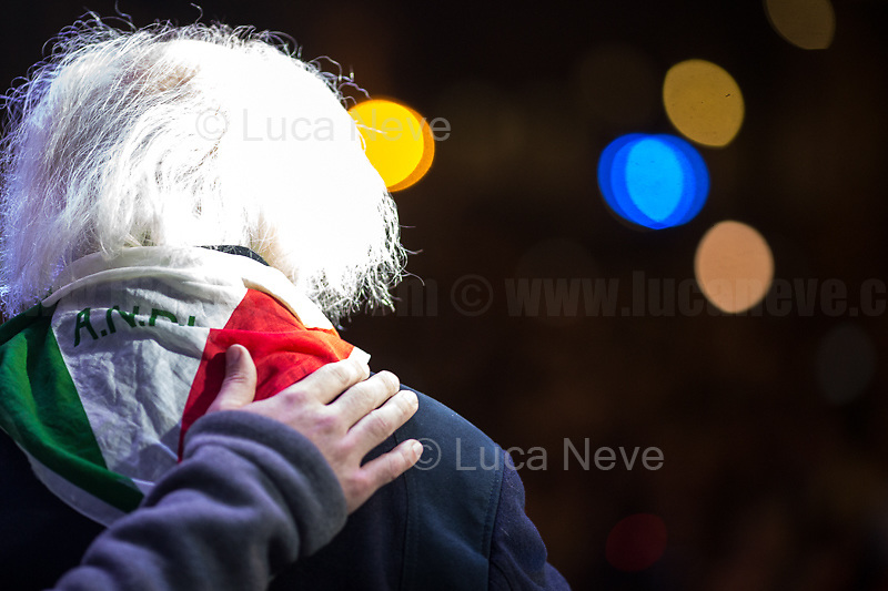 """Massimo Pradella (Antifascist Partizan. Member of the Partigiani: the Italian Resistance during WWII).<br /> <br /> Rome, 16/02/2020. Today, thousands of people gathered in Rome's Piazza Santi Apostoli holding the second demo (1.) in the Italian Capital of the growing """"Sardines"""" movement. The Sardines (1.) was founded in November 2019 in Bologna to protest against the leader of the far-right party Lega/League Matteo Salvini (2.) launching the campaign for the Emilia-Romagna regional election held in January 2020. In a recent interview, one of the four founders of the Sardines, Mattia Sartori, 32, told AFP: """"We are anti-fascist, pro-equality, against intolerance, against homophobia,"""" as protesters sang the anti-fascist anthem Bella Ciao. The Sardines demonstration was organised by the """"6000 Sardine Lazio"""" (3.) and held concurrently with a Lega / Salvini event happening in another area of Rome.<br /> <br /> Footnotes & Links:<br /> 1. http://bit.do/fuHGr<br /> 2. http://bit.do/fkT5F<br /> 3. http://bit.do/fuHHd<br /> https://www.facebook.com/6000sardine<br /> Video (Source, RadioRadicale.it) http://bit.do/fuHNJ<br /> Article (Source, theGuardian.com) http://bit.do/fkTGF"""