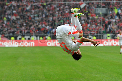 20.10.2012. Dusseldorf, Germany.  Dusseldorf versus  FC Bayern Munich. Goal celebration from Scorer Rafinha with a Somersault After his goal