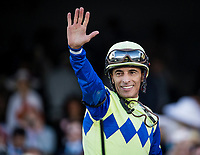 LOUISVILLE, KY - MAY 06:  John Velazquez waves to the crowd after winning the Kentucky Derby at Churchill Downs on May 6, 2017 in Louisville, Kentucky. (Photo by Alex Evers/Eclipse Sportswire/Getty Images)