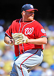 24 July 2011: Washington Nationals pitcher Todd Coffey on the mound against the Los Angeles Dodgers at Dodger Stadium in Los Angeles, California. The Dodgers defeated the Nationals 3-1 to take the rubber match of their three game series. Mandatory Credit: Ed Wolfstein Photo