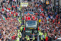 An open top bus headed (l-r) by Ashley Williams, Gareth Bale, Chris Coleman, Aaron Ramsey and Wayne Hennessey during the Homecoming of the Wales Euro 2016 Squad in Cardiff City Centre, Cardiff. 8 July 2016. Photo by Mark  Hawkins / PRiME Media Images.