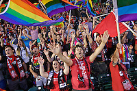 Portland, Oregon - Wednesday June 22, 2016: Portland Thorns supporters cheer during a regular season National Women's Soccer League (NWSL) match at Providence Park.