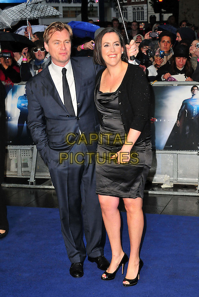 Christopher Nolan &amp; Emma Thomas<br /> 'Man Of Steel' UK film premiere, Empire cinema, Leicester Square, London, England.<br /> 12th June 2013<br /> full length dress married husband wife grey gray shirt blue suit black tie<br /> CAP/BF<br /> &copy;Bob Fidgeon/Capital Pictures