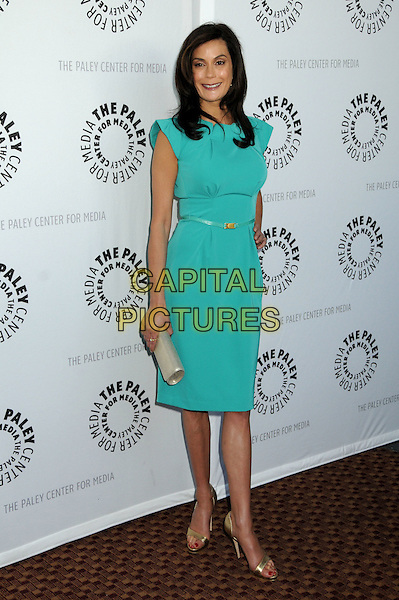"TERI HATCHER .The 26th Annual William S. Paley Television Festival presents ""Desperate Housewives"" held at Arclight Cinemas, .Hollywood, CA, USA,  .18th April 2009 .full length green turquoise dress shift RM Roland mouret gold shoes open toe clutch bag skinny belt waist .CAP/ADM/BP.©Byron Purvis/Admedia/Capital PIctures"