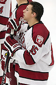 Seb Lloyd (Harvard - 15) - The Harvard University Crimson tied the visiting Dartmouth College Big Green 3-3 in both team's first game of the season on Saturday, November 1, 2014, at Bright-Landry Hockey Center in Cambridge, Massachusetts.