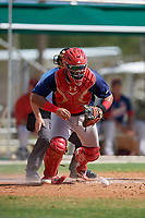 GCL Cardinals catcher Ivan Herrera (32) tracks down a loose ball during a game against the GCL Marlins on August 4, 2018 at Roger Dean Chevrolet Stadium in Jupiter, Florida.  GCL Marlins defeated GCL Cardinals 6-3.  (Mike Janes/Four Seam Images)