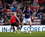 Jonny Williams of Sunderland tackled by Chris Basham of Sheffield Utd during the Championship match at the Stadium of Light, Sunderland. Picture date 9th September 2017. Picture credit should read: Simon Bellis/Sportimage