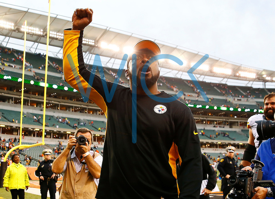 Head coach Mike Tomlin reacts following their 33-20 win against the Cincinnati Bengals during the game at Paul Brown Stadium on December 12, 2015 in Cincinnati, Ohio. (Photo by Jared Wickerham/DKPittsburghSports)