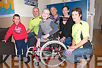 Presentation : Kerry Crusader members Gordon Flannery & Bernie Sheehy making a presentation of a specially adapted wheelchair to Cerebral Palsy patient Roisin Griffin, Causway at the KDYS Centre, Listowel  on Wednesday last. L- R : JJ O'Rourke, Gordon Flannery, Roisin Griffin, Ger Lowe, KDYS,  Shelia Griffin & Bernie Sheehy