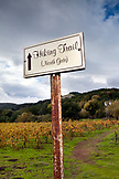 USA, California, Sonoma, a sign directing hikers to one of the many trails at Bartholomew Park winery and vineyard