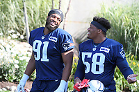 July 27, 2018: New England Patriots defensive lineman Deatrich Wise Jr. (91) and New England Patriots defensive lineman Keionta Davis (58) head to practice at the New England Patriots training camp held on the practice fields at Gillette Stadium, in Foxborough, Massachusetts. Eric Canha/CSM