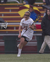 Boston College midfielder Kate McCarthy (20) brings the ball forward. Boston College defeated University of New Hampshire, 11-6, at Newton Campus Field, May 1, 2012.