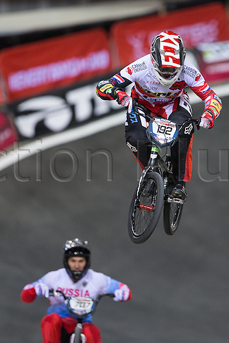 09.04.2016. National Cycling Centre, Manchester, England. UCI BMX Supercross World Cup day 1. Dave Van Der Burg take a jump.