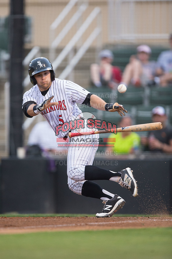 Tyler Sullivan (5) of the Kannapolis Intimidators lays down a bunt against the Asheville Tourists at Intimidators Stadium on May 28, 2016 in Kannapolis, North Carolina.  The Intimidators defeated the Tourists 5-4 in 10 innings.  (Brian Westerholt/Four Seam Images)